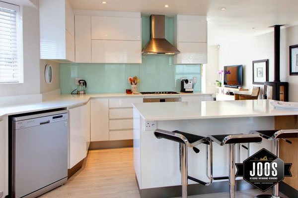 Compact and clean modern kitchen in white high gloss